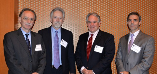 From left, Drs. Mario Zuccarello, Mayfield Lecturer Kim Burchiel, Jeffrey Keller and Norberto Andaluz. Photo by Tonya Hines.